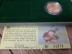 1990 Australia $200 Proof Platypus Coin 0.295 oz Gold content + Case & COA
