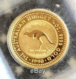 1990 Australian Gold Nugget Kangaroo $15 1/10 oz. 9999 Coin GEM BU In OG Capsule