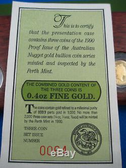 1990 The Australian Nugget Proof Issue Three Coin Set. Declared Mintage 1119