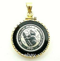 1991 1/10oz Platinum Australian Koala Coin In 14k Yellow Gold Onyx Bezel Pendant