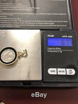 1991 Australian. 9995 PLATINUM Koala 1/10 oz Coin 14K Gold Bezel Pendant 6.7g