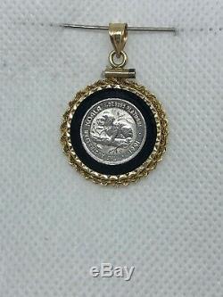 1991 Australian KOALA BEAR 1/20 oz. 9995 Platinum Coin 14K GOLD Bezel Pendant