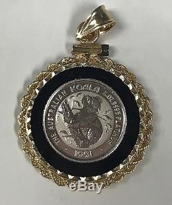 1991 Australian Koala 1/20 Ounce Platinum Coin with 14k Gold Bezel Pendant