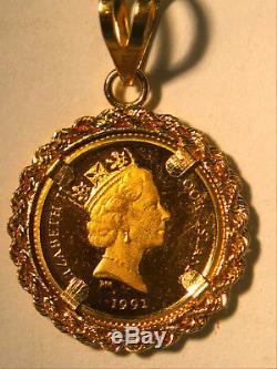 1991 GOLD 999 COOKE ISLAND 25 Dollar 14k PENDANT Gold 2.3 grams KOALA BEAR