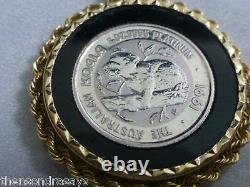 1991 The Australian Koala 1/20 oz. 9995 Fine Platinum Coin set in 14K Bezel