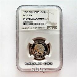 1992 AUSTRALIA $200 Gold Coin ECHIDNA NGC PROOF 70 ULTRA CAMEO RARE COIN