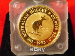 1993 Australian Gold Nugget. 5 oz Perth. 9999 Nailtailed Wallaby $50 Cameo Proof