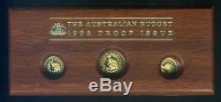 1993 Australian Gold Three Coin Nugget Proof Set 1/20oz, 1/10oz, 1/4oz