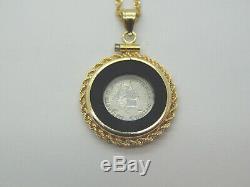 1995 1/20th Platinum Australian Koala Coin Pendant 14K Gold Frame Chain 9.6 Gram