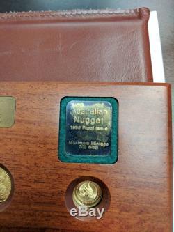 1995 Australian Gold Nugget 5 Coin Set. 1.9 Oz Pure Gold. 9999 Low Mintage