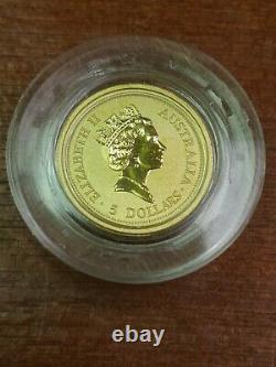 1996 1/20 Oz Gold Australian Nugget Kangaroo. 9999 Fine Au $5