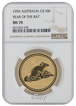 1996 1oz Gold Australian Lunar Rat Series 1 MS70 NGC (#025)