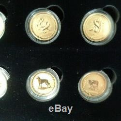 1996-2007 12 Coin Australian Lunar (Series I) 1/10 oz 9999 Fine Gold Set
