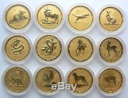 1996 2007 Australia Lunar 1 oz 12 Gold Coins. 9999 Set with original box