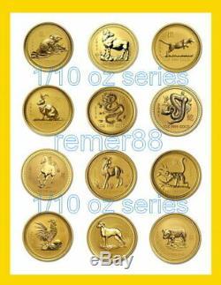 1996 2007 Australian Lunar Series 1/10 oz 9999 Fine Gold 12 Coins Set