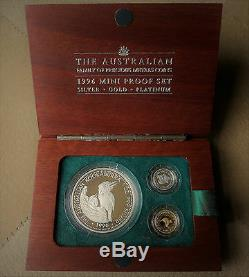 1996 Australia Set 1 oz. Silver Kook, 1/20 Gold Kangaroo, 1/20 Platinum Koala
