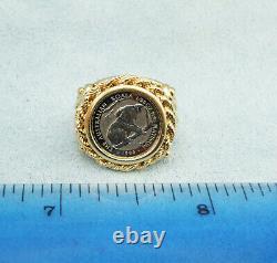 1996 Australian 1/20 Oz Platinum 5 Dollars Koala coin Ring, 14K Gold Mount