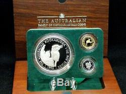 1996 Australian Family of Precious Metals (3 Coin) Gold-Platinum-Silver ECC&C
