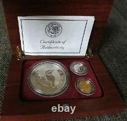 1997 Australia $5 Set -1 oz. Silver Kook 1/20 Gold Kangaroo 1/20 Platinum Koala