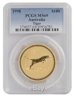 1998 1oz Gold Australian Lunar Tiger Series 1 MS69 PCGS (#781)