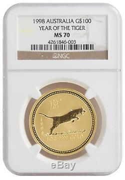 1998 1oz Gold Tiger MS70 NGC (#003)