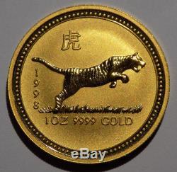 1998 Australia $100 Lunar I Year of the Tiger 1 oz. 9999 Fine Gold