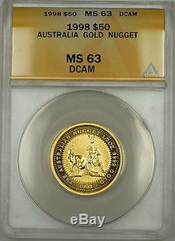 1998 Australia Nugget $50 Dollar Gold Coin ANACS MS-63 DCAM Deep Cameo