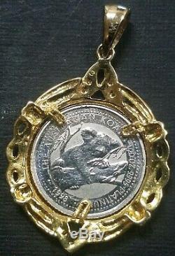1998 Australian Koala 1/20 Ounce Platinum Coin with 18k Gold Dia Bezel Pendant