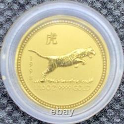 1998 Australian Year Of The TIGER Gold Lunar 1/10 oz. 9999 BU Coin Mint Capsule