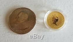 1998 Lunar Series Year Of The Tiger 1/10 oz. 999 Gold Australian Perth Mint