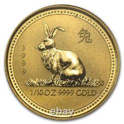 1999 Australia 1/10 oz Gold Lunar Rabbit BU (Series I) SKU #8993