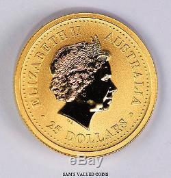 1999 Australia 25 Dollars Lunar Year of the Rabbit Gold Coin 1/4 OZ. 9999 Gold