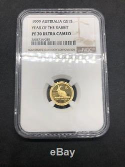 1999 Australia G$15 1/10 gold Lunar Rabbit MS70 Series 1 Ultra Cameo Gem 1/1