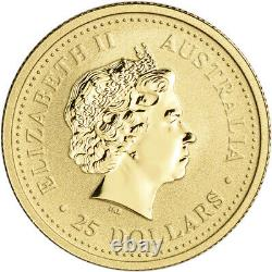 1999 Australia Gold Lunar Series I Year of the Rabbit 1/4 oz $25 BU