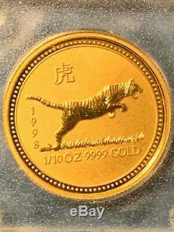 1/10 oz GOLD Lunar Series I 1998 Year of the Tiger coin