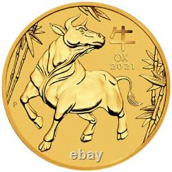 1/10 oz Gold Coin 2021 Year Of The OX Perth Mint Australian $15 Coin
