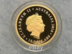 1/10 troy oz Gold 2010 Perth Australian Koala Proof Bullion Coin. 9999 Capsule