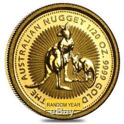 1/20 oz Australian Kangaroo/Nugget Gold Coin. 9999 Fine (Random Year)