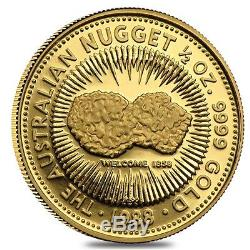 1/2 oz Australian Kangaroo/Nugget Gold Coin. 9999 Fine (Random Year)