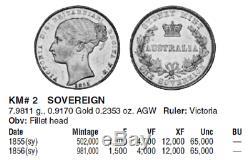 1 Sovereign Gold Australia Sydney 1855(sy) KM# 2 NGC VF-35 Key Date! RRRRR