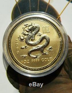 1 oz. 9999 Gold Dragon, 2000 Australian Pert mint Lunar Series I coin