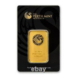 1 oz Australia Perth Mint Gold Bar. 9999 Fine Gold With Sealed Assay Certificate