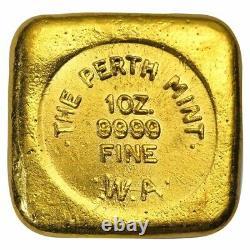 1 oz Perth Mint Cast Gold Button Bar. 9999 Fine