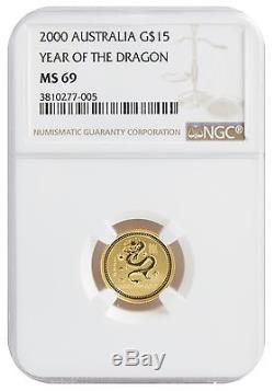 2000 1/10oz Gold Australian Lunar Dragon Series 1 MS69 NGC (#005)