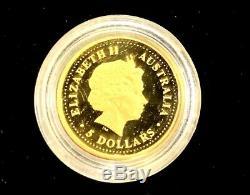 2000 1/20 oz Australian Proof Kangaroo/Nugget Gold Coin. 9999 Fine BU In Capsule