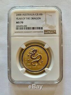 2000 1 oz Australian Gold Lunar Year of The Dragon NGC MS70 Perth Mint