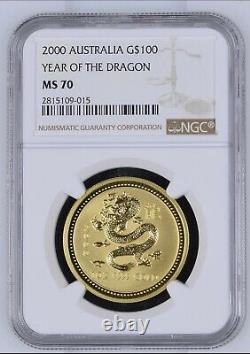 2000 1 oz Australian Gold Lunar Year of The Dragon NGC MS70 Top Pop Mint