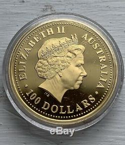 2000 1 oz Australian Gold Lunar Year of The Dragon Proof Coin Perth Mint