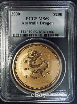 2000 $200 Australia PCGS MS69 2 OZ. 9999 GOLD LUNAR DRAGON