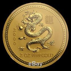 2000 2 oz Gold Lunar Year of the Dragon MS-70 NGC (Series I) SKU#65343